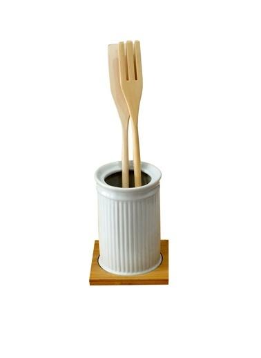Bambu Standlı Porselen Kaşıklık-Kitchen